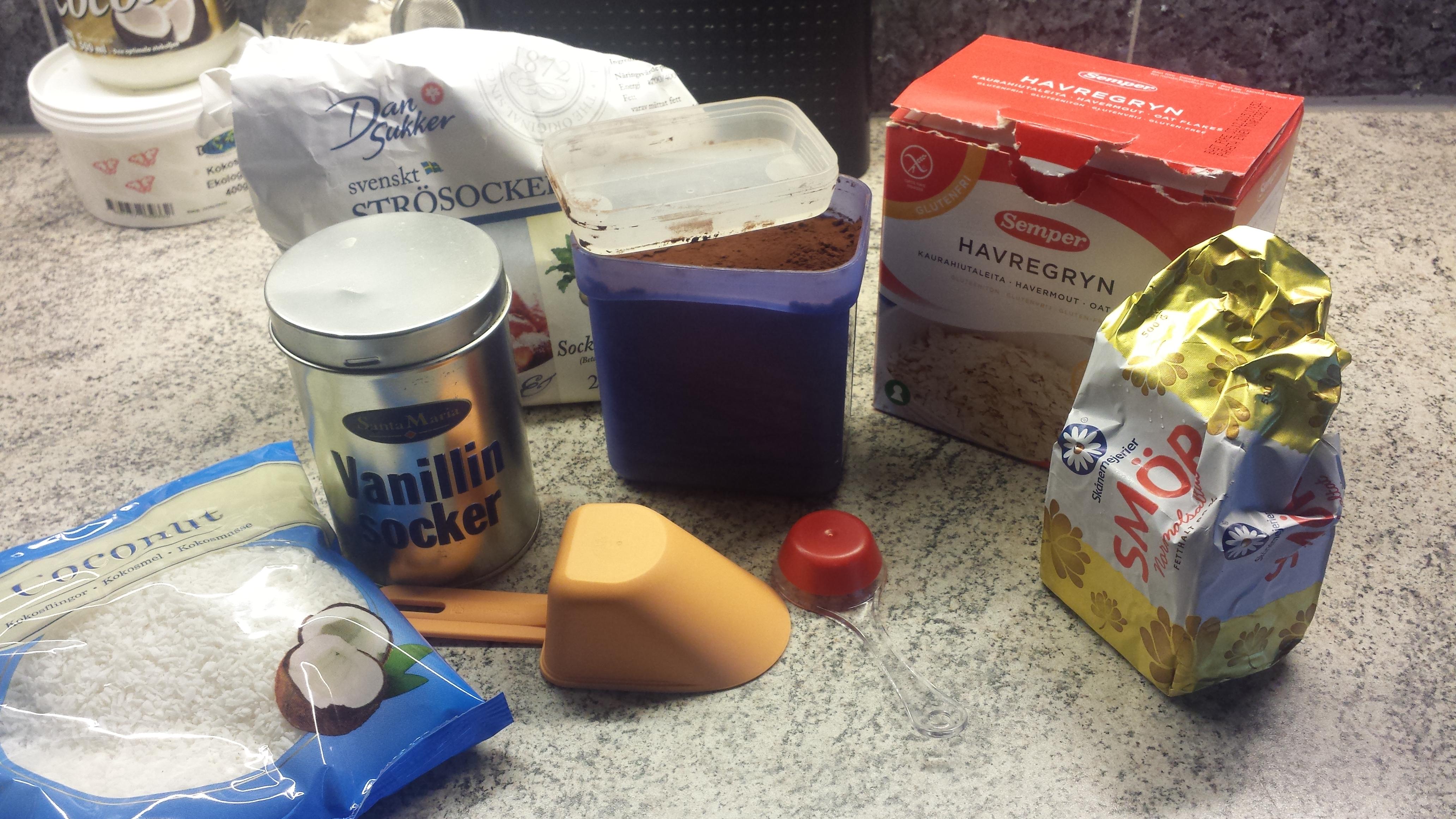 ingredienser till chokladbollar