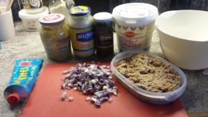 Ingredienser till tonfiskröra
